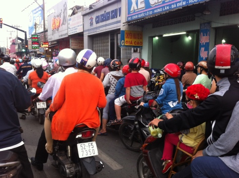 Busy motorbiking riding in Vietnam